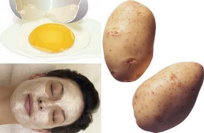 Лицо девушки, картофель и яйцо