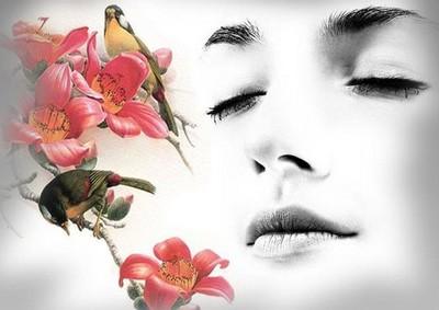 Силуэт лица перед красивыми цветками
