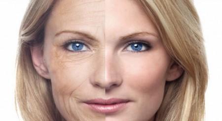 Лицо женщины наполовину омоложенное